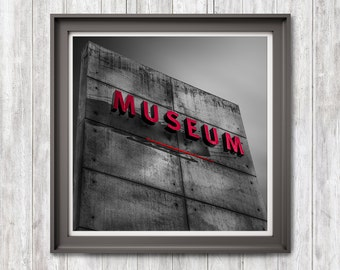 Museum, Print Download, Photography, Black White Red, Grey, Architecture Detail, Photo Art, Minimal, Fine Art, Home Office Hotel Decor