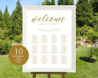 Gold Wedding seating chart, printable seating chart, Seating Chart Template, engagement seating chart, Find your seat sign, WPC_297