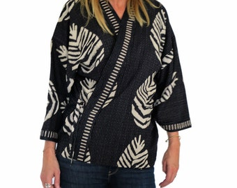 Kimono printed palm cotton