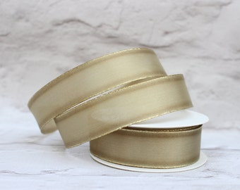 Wired Gold Edge Organza Ribbon, 1 Meter Organza Ribbon, 25mm Ribbon, Christmas Ribbon, Gift Wrap, Etsy Shop Supplies.