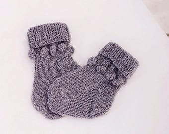 Baby knitted socks Newborn wool socks Baby shower gift Grey boys girls baby socks Children toddler knitted socks Winter kids socks baby gift
