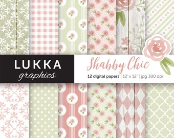 Shabby Chic digital paper pack; Floral digital patterns; rose pattern; Pink and green; Instant download