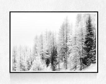 Winter Landscape Print, INSTANT DOWNLOAD, Scandinavian Print, Minimalist Print, Winter Wall Art, Landscape Print, Mountains Printable Art