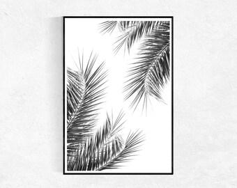 Palm Leaf Print, Leaf Print, Plant Wall Art, Scandinavian Print, Palm Trees, Tropical Wall Art Decor, Modern Minimalist,  Printable Art