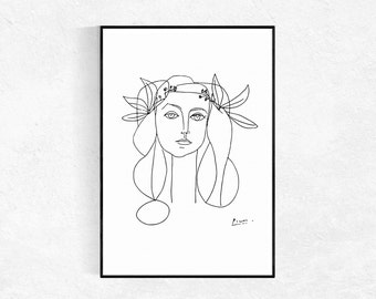 Picasso PRINT, Head Of A Women, Modern Minimalist, Female Sketch, Drawing, Nude Sketch, Picasso Poster, Picasso Wall Art, Figurative Drawing