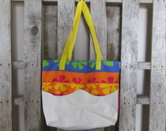 Large Tote Bag Upholstery Flowers