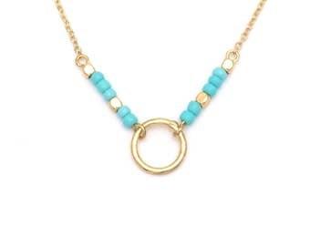KARMA Necklace Bracelet set beads gold turquoise