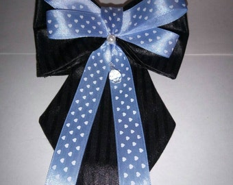 Dog Necktie Set - Black Tie with Black & Blue Bow tie - No Buckle Dog Adjustable Collar - Christmas dog tie