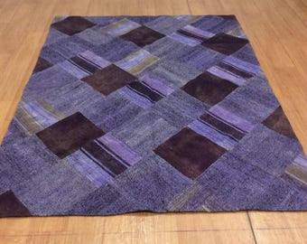 Purple Kilim, Patchwork Rug 220x170 cm, Goat Wool Kilim, Patchwork Kilim, Patchwork Rug 86'x66' Purple Kilim, Rug