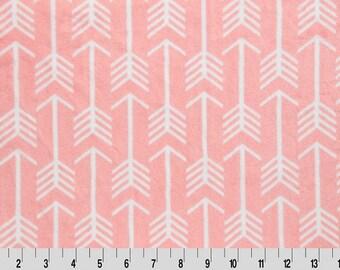 Shannon Minky Fabric, Shannon Cuddle Minky, Premier Archer Minky, Coral Archer Minky Fabric, Coral Arrow Minky, Fabric By The Yard