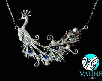 925 Silver Peacock Pendant Necklace with cubic zirconia and pearls