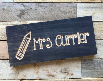 Teacher Name Sign | Desk Sign | Teacher Gift | Teacher | Custom Teacher Gift | Classroom Sign | Teacher Thank You | Gift from Student |