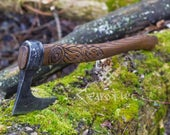 Hand Forged Viking Axe 1095 High Carbon Steel Leather Case, Viking Bearded Axe