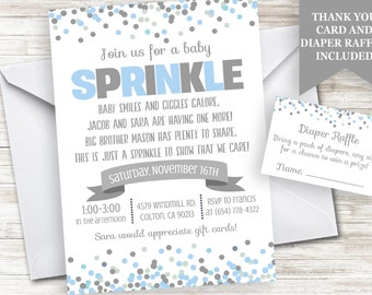 Baby Boy Sprinkle Invitation Invite 5x7 Bundle Blue Gray Grey Digital Personalized