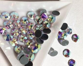 ss30 6.5mm Swarovski crystals xirius type flat back HOTFIX rhinestones gems CRYSTAL AB - best for clothes!