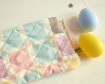 Sachet-case-door all-cotton, case for make-up, pure cotton, quilted lining