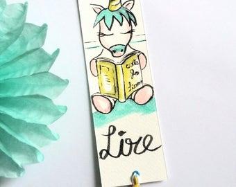 """Watercolor """"Read"""" Unicorn bookmark"""