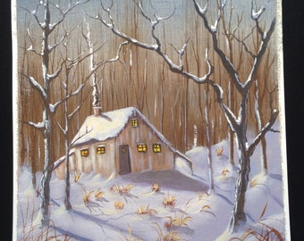 Original Hand Painted Acrylic Painting Out Door Scenery Landscape Winter Snow Cabin
