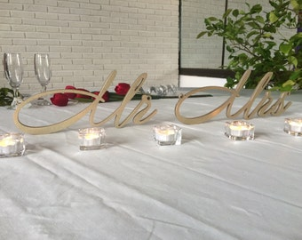 Wooden letters wedding table Mrs and Mr sign - Mrs and Mr in silver or gold, Mrs and Mr glitter, wedding signs Mrs and Mr