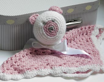 Doudou crochet pink and white