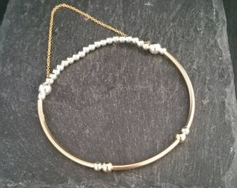 Unique 925 Sterling Silver 14k Gold Filled Stackable Beaded Elastic Stretch Tube Bead With Dropped Chain Charm Bracelet Gift Idea