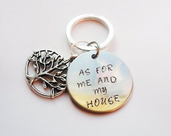but as for me and my house, we will serve the LORD. Hand stamped keychain, Joshua 24:15 keychain,Scripture keychain,Family tree keychain