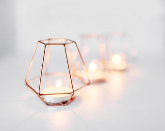 Copper wire - Copper wire decor - Wedding Copper wire decor - Candleholders - Geometric Copper wire - Candle holder - Wedding Candle holder