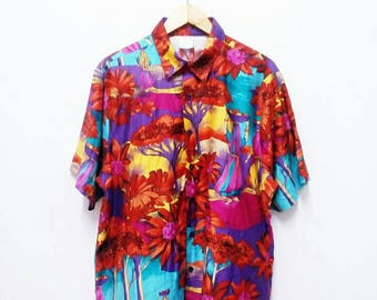 Hot Sale!!! Rare Vintage 90s FASHION SEAL Hawaiian Trophic Floral Figure Print Button Down Shirt Extra Large Size