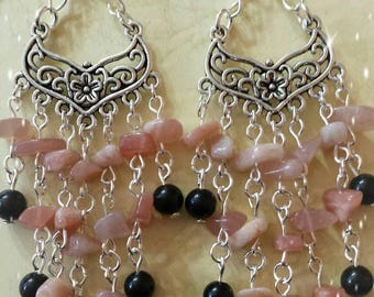 Earrings with Sun stone and Obsidian-pagan wiccan jewelry-jewelry-wicca-pagan-witch-Paganism