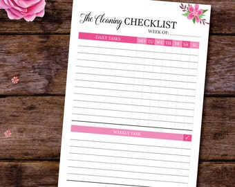 Printable Cleaning Checklist, Daily Cleaning Schedule, Cleaning List, Cleaning Planner, Filofax A5 Inserts,Weekly Cleaning A5/A4/Letter Size