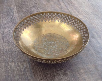Vintage etched brass bowl