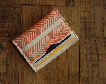 Leather Wallet 3Poc, natural with red orange pattern