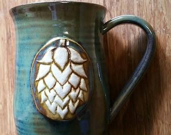 Hops mug, large 20 ounce handmade ceramic mug for coffee or tea or beer, #129