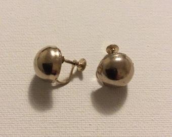 Silver Tone Screw Back Earrings