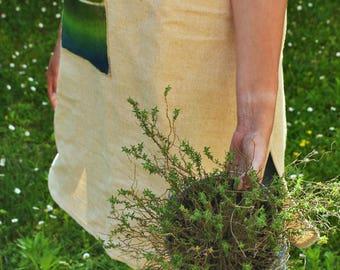 Apron, robe _ Raw fabric, organic materials, hand painted