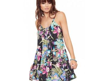 women multi flower paradise sleeveless cami swing mini dress long summer top vest
