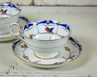 2 x Pretty Vintage Cups and Saucers