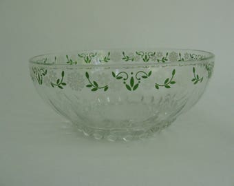 Vintage glass bowl with flowers