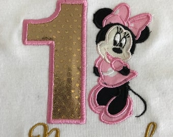 Minnie Mouse gold & pink birthday shirt cursive name any Age embroidered bling glitter gold