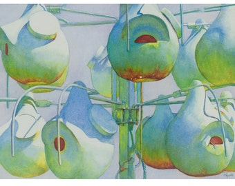 Bird home feeders, watercolor giclee print, 8x10, multi blues, green, white, unique contemporary business/home decor, gifts