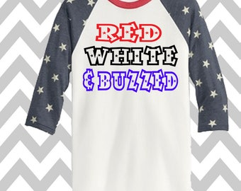Red White and Buzzed 3/4 Sleeve Baseball Tee Unisex 4th of July Patriotic T-Shirt Memorial Day Tank Funny Drinking Shirt 'MERICA Lake Shirt