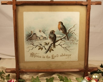 Vintage Raphael Tuck robin picture in Adirondack frame