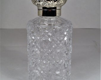 Windsor Button and Cane Glass Bottle with Silver Toned Metal Top, Perfume Bottle, Bath Oil Bottle, Spa Storage