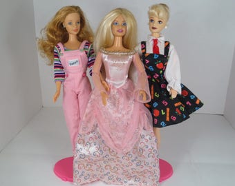 SALE Vintage Barbie Dolls, Princess Barbie, Teacher Barbie, Blonde Barbie, Strawberry Blonde Barbie, Set of Three Barbies