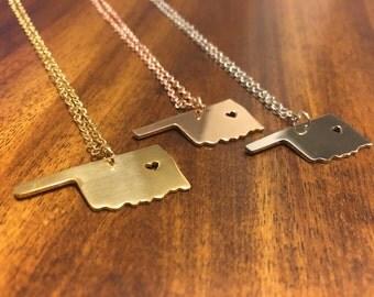 Oklahoma Necklace - Oklahoma Jewelry - Oklahoma Pendant - Oklahoma Charm - Oklahoma Outline - State Jewelry - Oklahoma