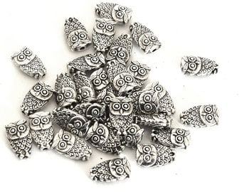 OWL/OWL Tibetan style silver antique10x6x4 mm PT201605 beads