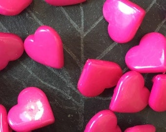 hot pink heart shaped buttons, pack of 10, plastic buttons, hot pink heart buttons, BUT136, valentines buttons, craft buttons, 15mm buttons