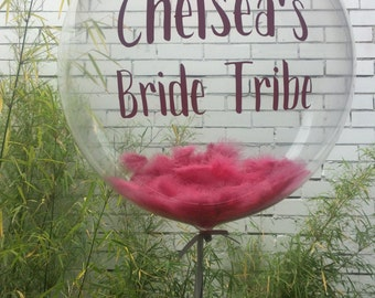 Hen / Bachelorette / Bridal Shower - personalised feather filled bubble
