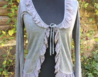 Light Grey Knit Cardigan with frill trim Women's Jacket Knitted Soft Light Sweater Size Medium