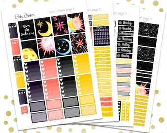 SALE! -50%   Sun & Moon Weekly Kit for Erin Condren   Printable   Includes Blackout Files for Easy Cutlines